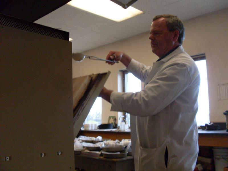 Jim Self, director of the Soil, Water and Plant Testing Lab at Colorado State University sterilized all 90 soil samples for the Veterans Plaza garden.