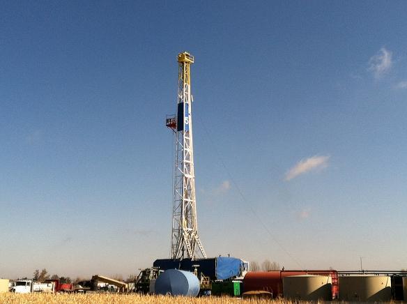 A drilling rig near Longmont, Colo.