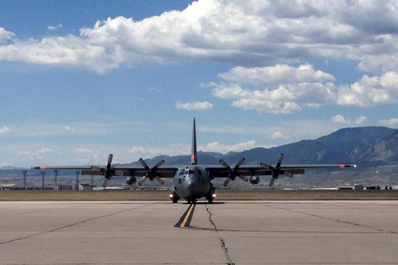 A MAFFS C-130 taxiing at Peterson AFB
