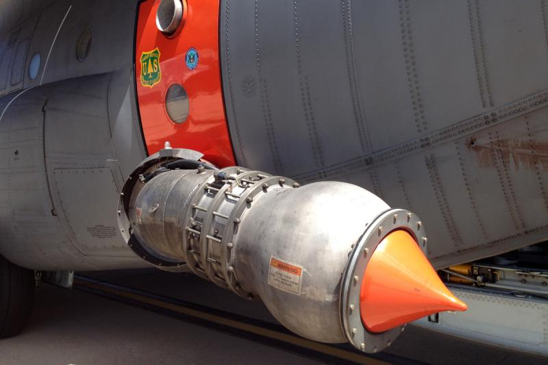 The discharge nozzle on the starboard side of the C-130.