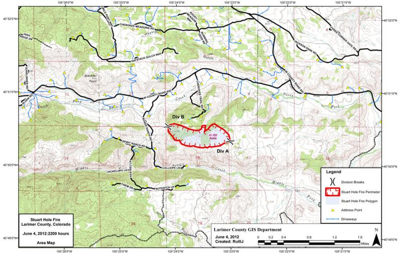 Map of the Stuart Hole Fire from June 4th, 2012.