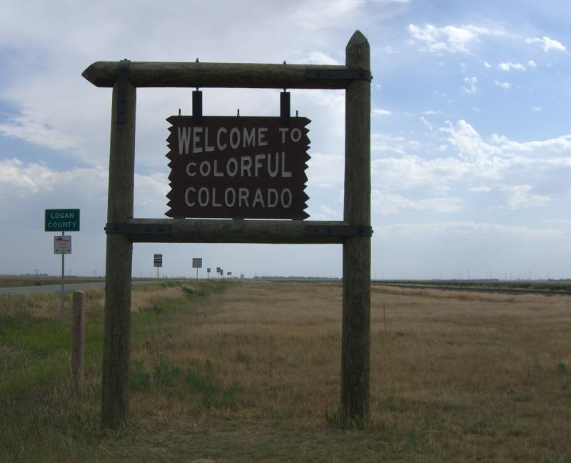 Welcome to Colorado sign as seen from Nebraska