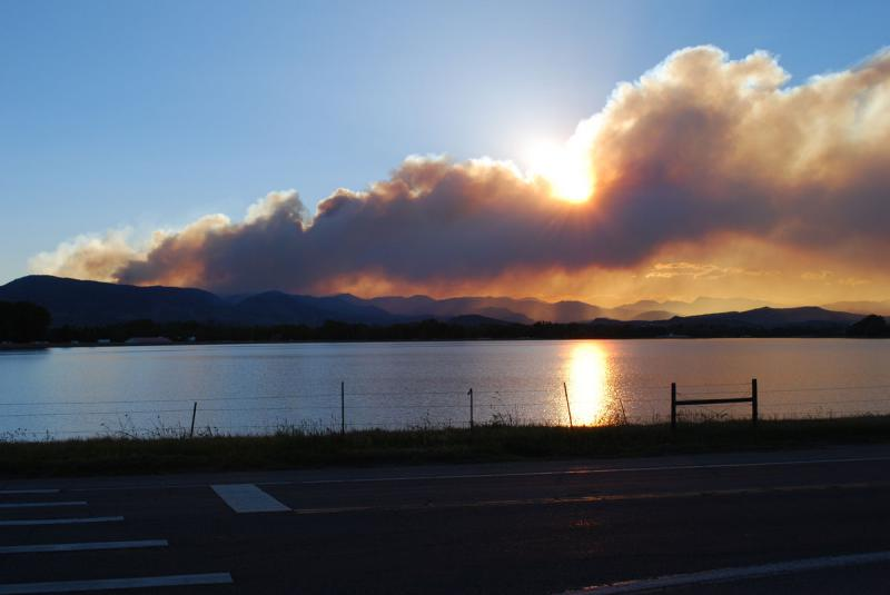 High Park Fire at sunset over Terry Lake north of Fort Collins