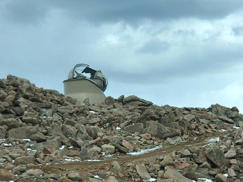 Strong winds over the winter severely damaged the dome on top of the Mount Evans observatory.