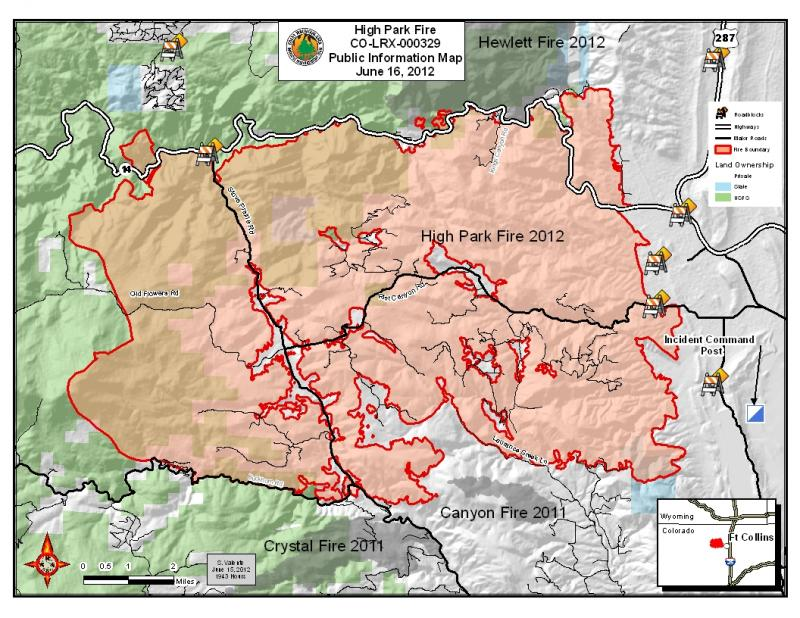 June 16th public information map of the High Park Fire.