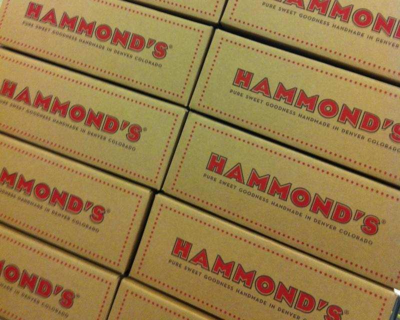 Stacks of boxes wait to be filled with Hammond's Candies for shipment worldwide.