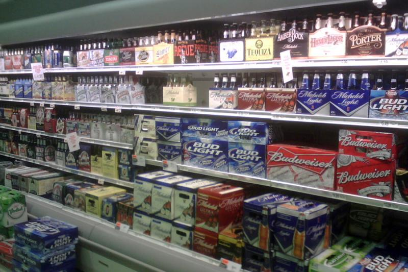 A typical selection of beer found in the grocery aisle