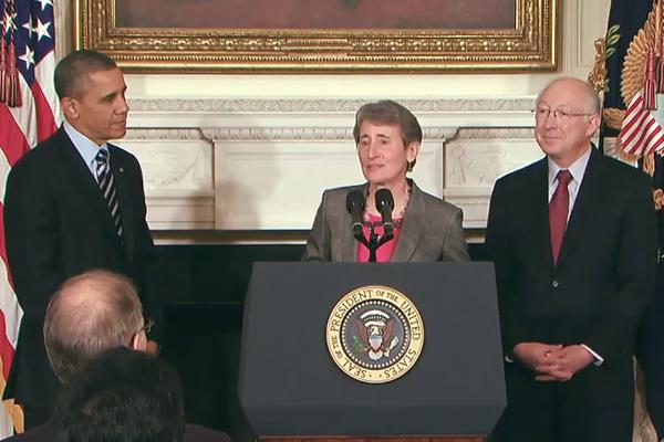 Sally Jewell speaking after being nominated by President Obama. The departing Ken Salazar is on the right of the frame