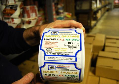 Labels at Swiss Meat and Sausage Co. near Hermann, Mo., do not indicate if products contain genetically modified organisms.
