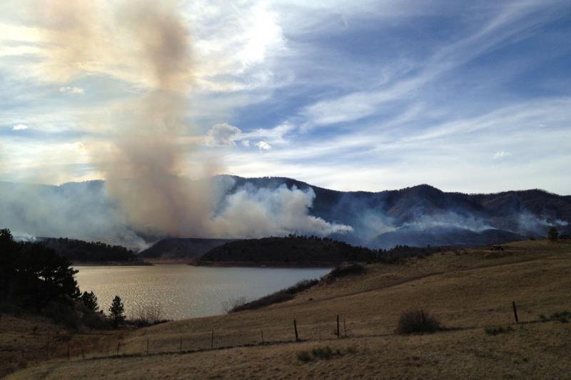 The Galena Fire burns near Horsetooth Reservoir, Friday March 15