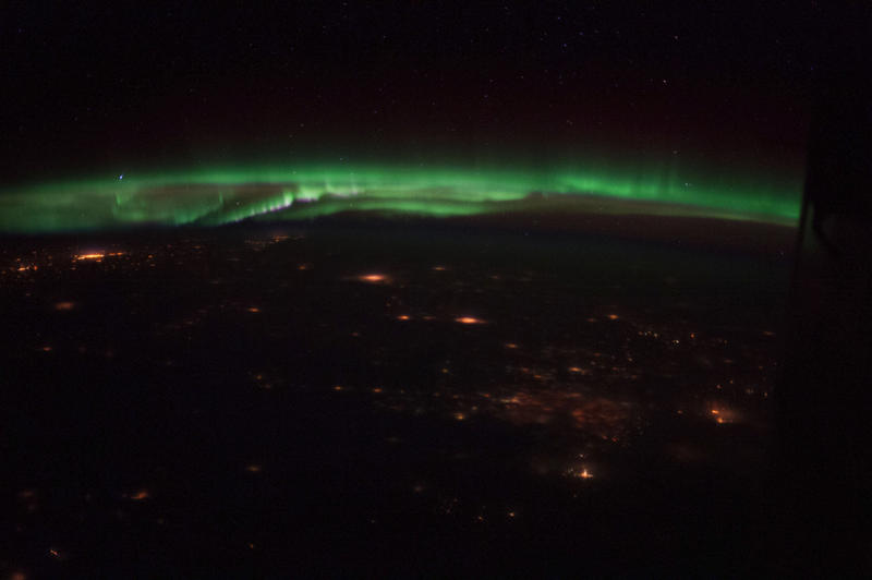 A crew member aboard the International Space Station captured this night picture of the 'Norhern lights' over Colorado