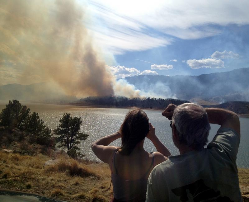 The Soldier Canyon Fire burns near Horsetooth Reservoir