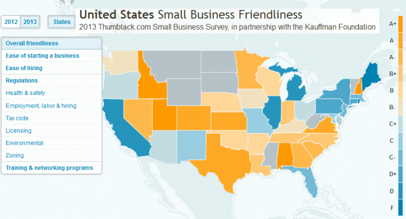 Screencap of the 2013 United States Small Business Friendliness map