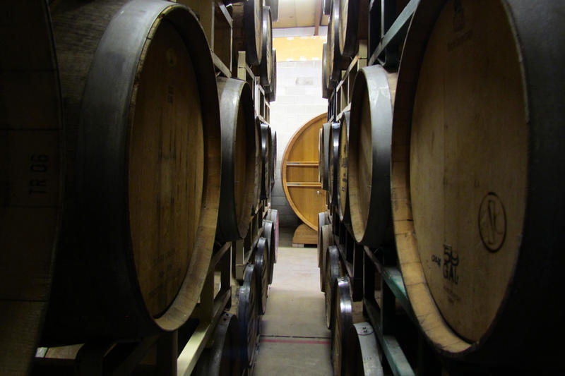 A peek from inside the barrel racks at Crooked Stave