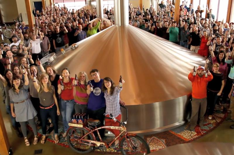 Screencap from one of the newest New Belgium ads, which asks 'Want a Beer?'