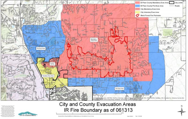 City and county evac areas, including the IR fire boundary (the dark red line) June 13