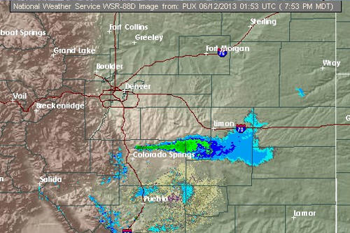 Screencap Tuesday showing smoke from the Black Forest Fire appearing on weather radar from the National Weather Service