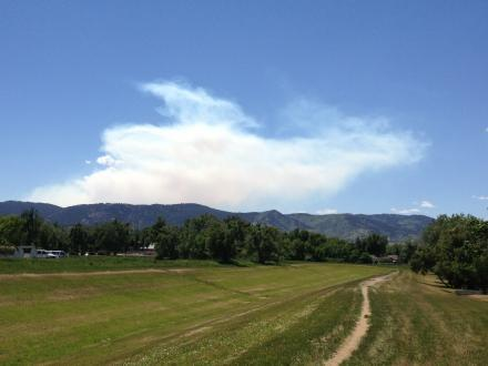 Smoke from the Big Meadows Fire Tuesday.