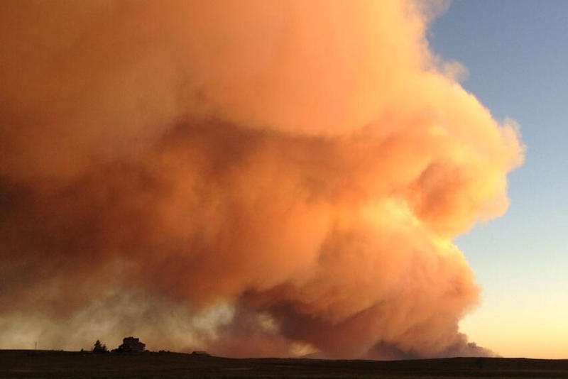 A view of the Black Forest Fire from the east near sunset taken by NPR's Kirk Siegler Tuesday afternoon.