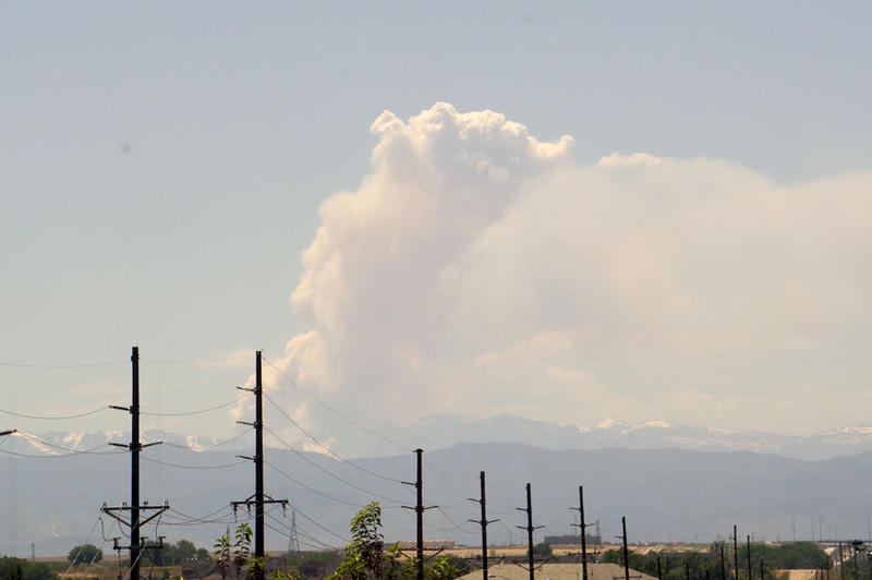 Tuesday's smoke plume from the Big Meadows Fire seen from the KUNC studios in Greeley, Colo.