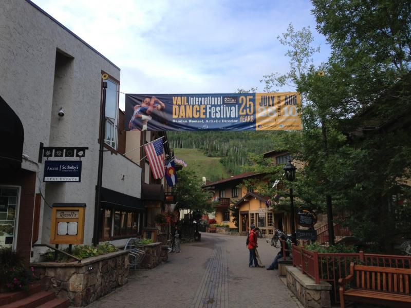 A banner in Vail Village heralds the festival.