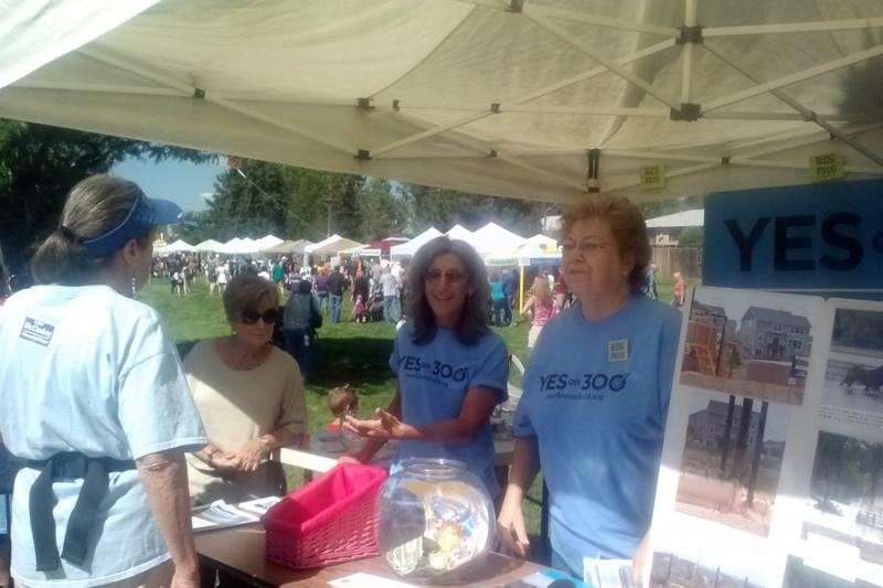 Dottie Rawsky and other members of Our Broomfield man an informational booth.