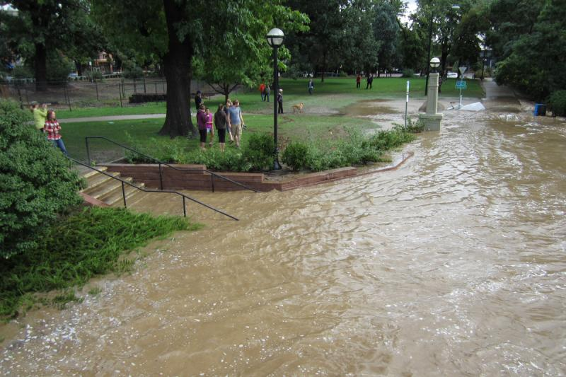 Residents get a look at receding waters in Boulder, Sept. 13.