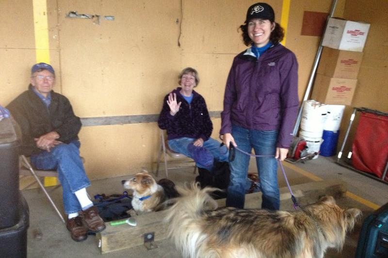Kerry Grimes' wife Alison (in purple) with Mocha and other residents, Sept. 15.