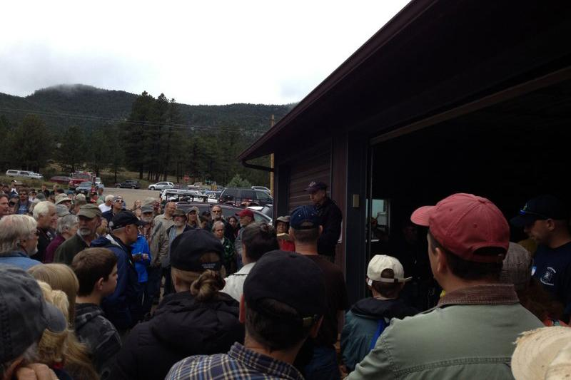 Evacuees meeting with rescue officials, Sept. 16.