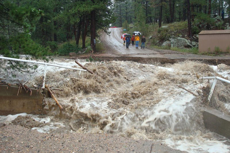 """Flooding in Pinewood Springs, Colo., Sept. 12. """"The Little Thompson River in these photos was literally a trickle this time last week,"""" said Kerry Grimes."""
