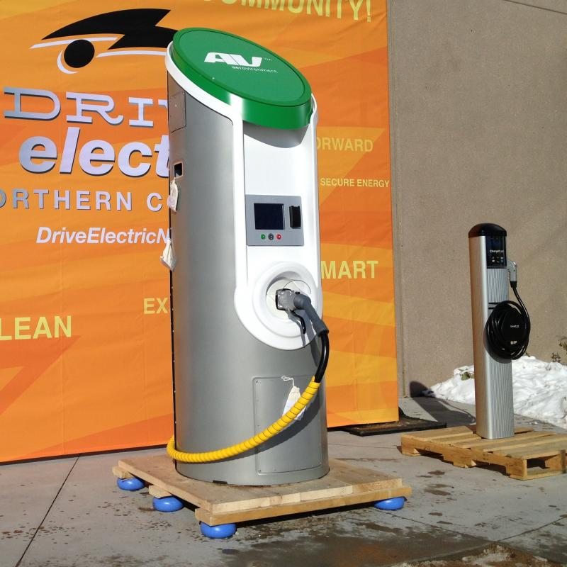 Chargers like these unveiled in Fort Collins earlier this year will soon be installed at Centerra of Loveland.
