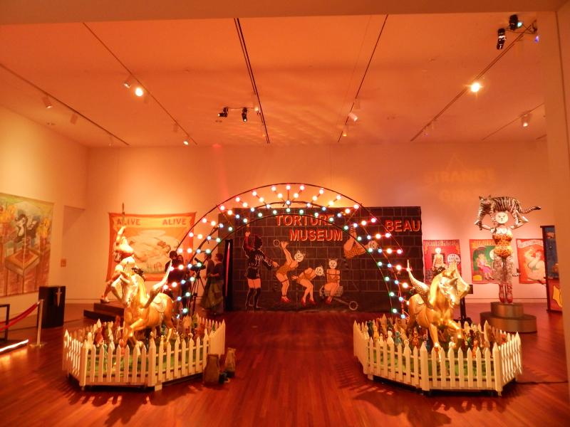 Artist Pamela Joseph's many works, with their music and lights, create a carnival midway like atmosphere at the Colorado Springs Fine Arts Museum.