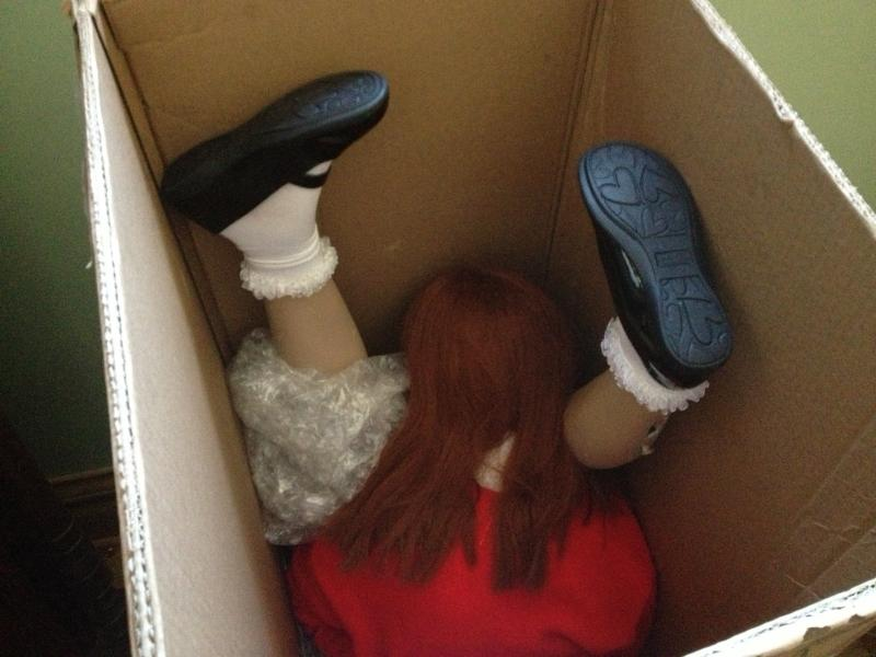 Mary Margaret and Chauncey are stored in boxes in between photoshoots.