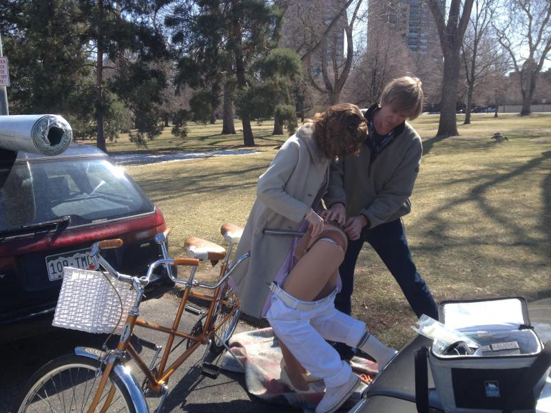 Heintz and her boyfriend Dave Mika used a hernia belt to anchor Chauncey, the mannequin, to a bicycle built-for-two.