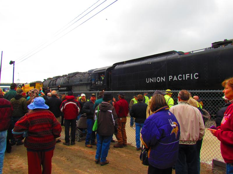 Hundreds gathered at the Union Pacific Depot in downtown Cheyenne to view the 4014