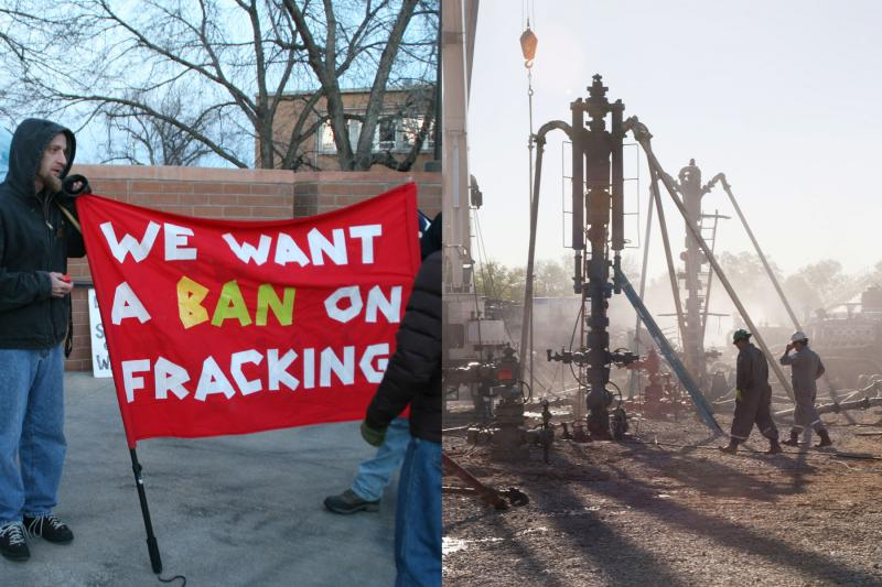 Fracking vs Frac'ing: On the left, fracking protesters hold a sign outside Fort Collins City Council Chambers. Pictured on the right, the fracturing process at a well site.