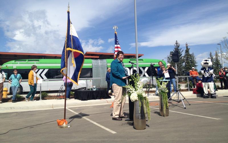 Fort Collins Mayor Karen Weitkunat addresses the crowd at the South Transit Center.