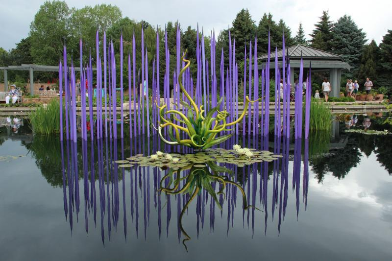 """The """"Monet Pool Fiori"""" sculpture by Dale Chihuly, at the Denver Botanic Garden"""