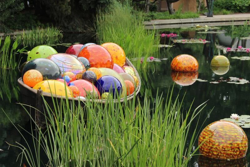 """""""Float Boat,"""" a blown glass sculpture by Dale Chihuly, in the Denver Botanic Garden"""