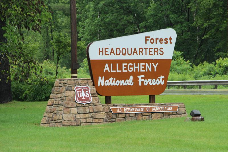Sign outside the headquarters of the Allegheny National Forest, a public forest that owns very little of its own mineral rights.