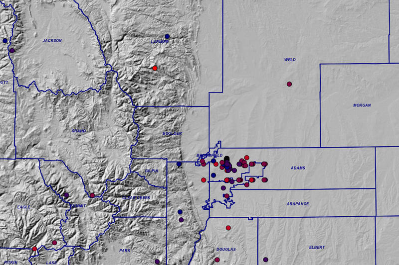 A screencap from the Colorado Geological Survey's online earthquake and fault and fold map. Dark blue cirlces denote 1.60 to 2.59 magnitude quakes, bright red denotes 5.59 to 6.59.