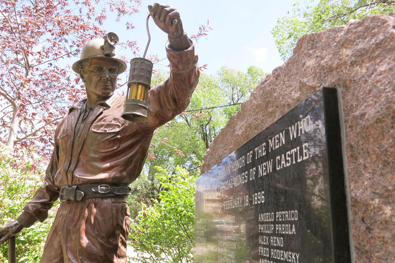 A memorial to miners who died in a series of mine explosions in New Castle sits in the town's Burning Mountain Park.