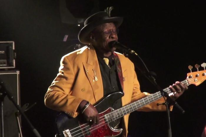 Screencap from a YouTube performance of Bob Stroger and Bob Margolin playing at the 19th Lucerne Blues Fesitval, Nov. 2013.