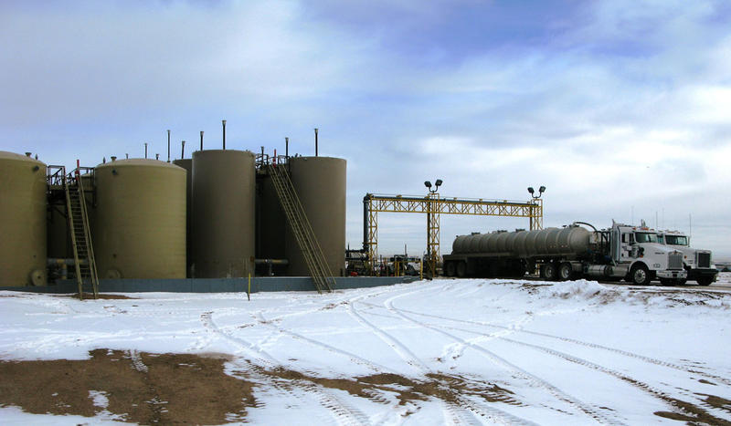 Oilfield waste arrives by tanker truck at a wastewater disposal facility near Platteville, Colo. After removal of solids and oil, the wastewater is injected into a deep well for permanent storage underground.