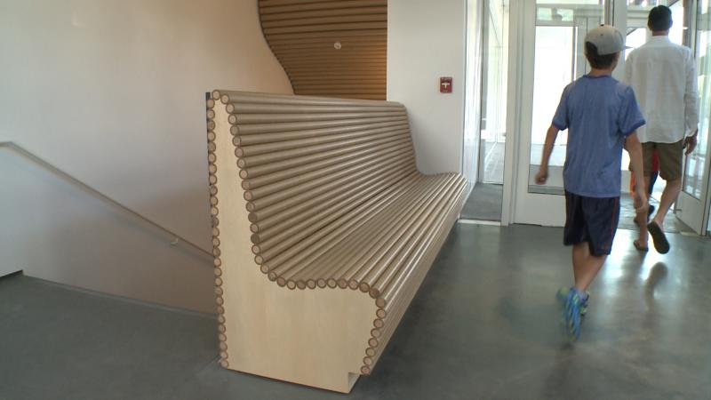 Architect Shigeru Ban has used cardboard tubes in places like Haiti and Rwanda to quickly and efficiently house disaster victims. Here it was incorporated into benches.