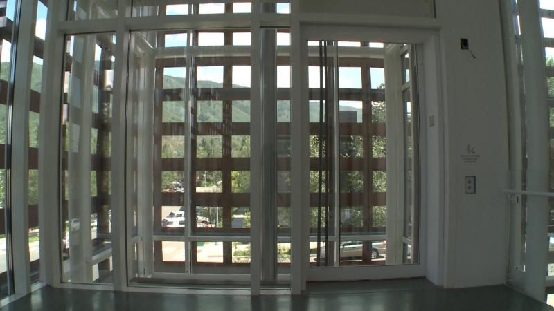 The museum's elevator shaft is all glass and allows for views of downtown Aspen.