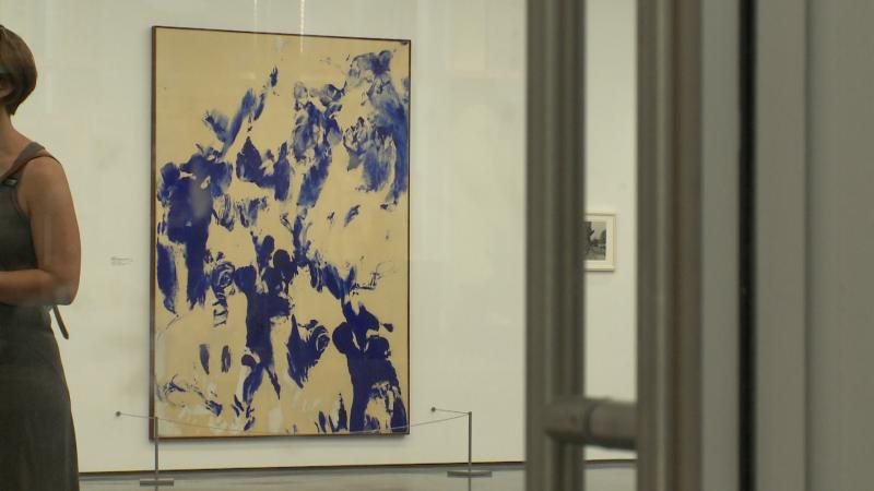 The work of Yves Klein, part of the exhibit of David Hammons Yyes Klein/Yves Klein David Hammons.
