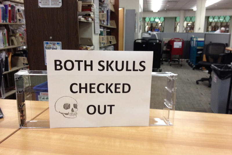 """As the photographer notes, """"a skullless situation at Norlin"""" library on the campus of the University of Colorado, Sept. 2013."""