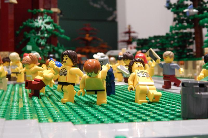 """The Lego version of the annual """"Nearly Naked Mile."""""""