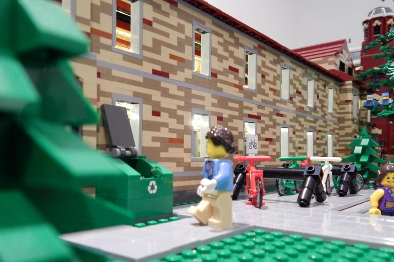A number of aspects of CU campus life are represented in the Lego version including biking and recycling.